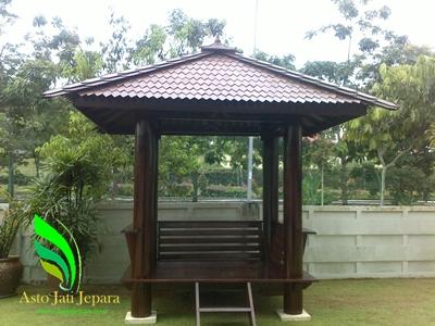 Gazebo Taman Minimalis Modern Kayu Glugu