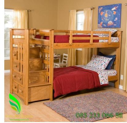 tempat-tidur-anak-tingkat-kayu-jati