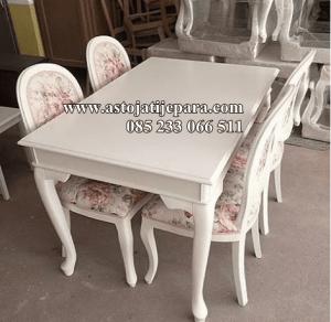 Set Meja Makan Putih Duco Desain Garengan