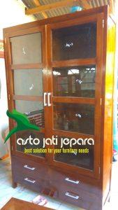 Lemari Buku Minimalis Kaca Kayu Jati