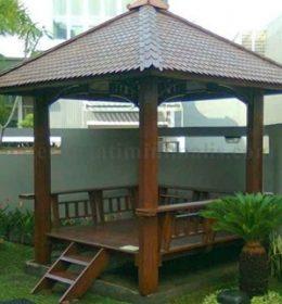 gazebo taman kayu kelapa minimalis jepara