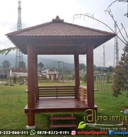 Gazebo Minimalis Kayu Kelapa Atap Sirap