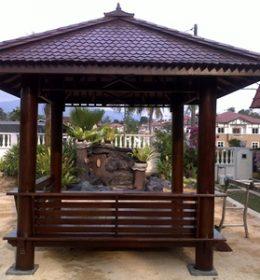 Gazebo Kayu Kelapa Minimalis Taman Modern