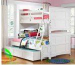 Tempat Tidur Anak Tingkat Laci Sorong Putih