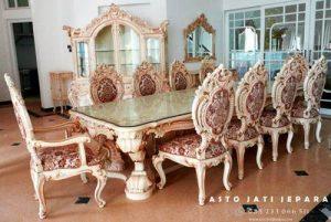 Meja Makan Mewah Putih Duco 10 Kursi
