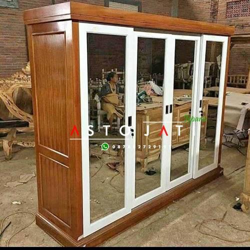 Lemari Pakaian Kaca Cermin 4 Pintu ASTO - 305
