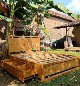 Tempat Tidur Kayu Jati Laci Bawah ASTO - 342